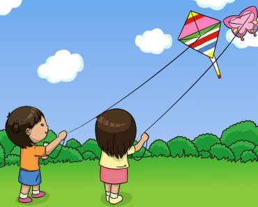 Children playing kites with happy modes