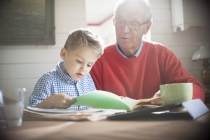 grandpa and son talking about study
