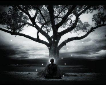 guru under the tree and meditating