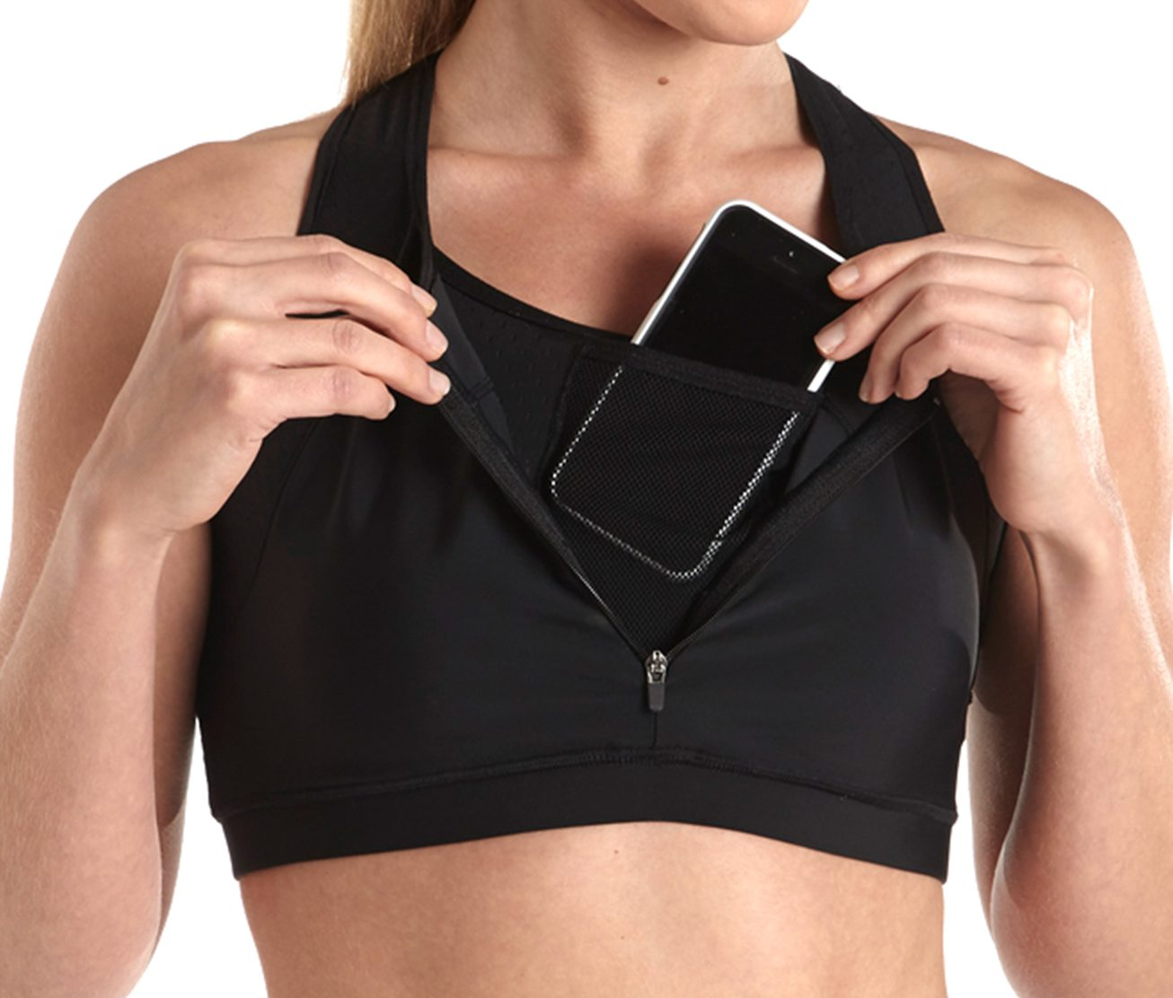 phone in sports bra